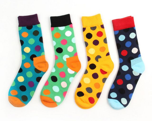 Male Female Tide Brand Happy Socks Gradient Color Paragraph summer Style Pure Cotton Stockings Men's Knee High Business Socks