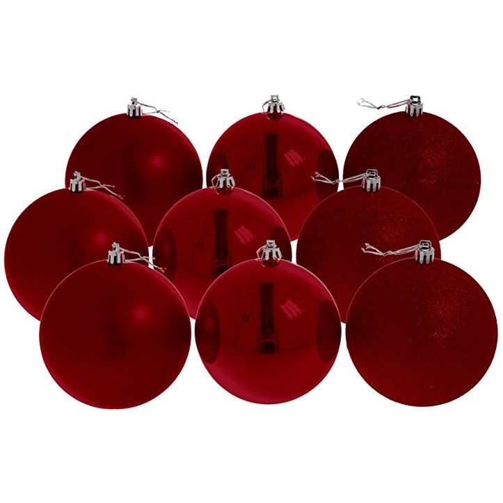 Christbaumkugeln Weihnachtskugeln 10 cm, 9er Pack, rot glänzend/matt/glitzernd - weihnachtsdeko weihnachtsdeko basteln weihnachten weihnachten dekoration weihnachtsbaum weihnachtsbaumschmuck ideen weihnachtskugeln baumschmuck weihnachten baumschmuck basteln weihnachten geschenkideen christbaumschmuck christmasdeko -