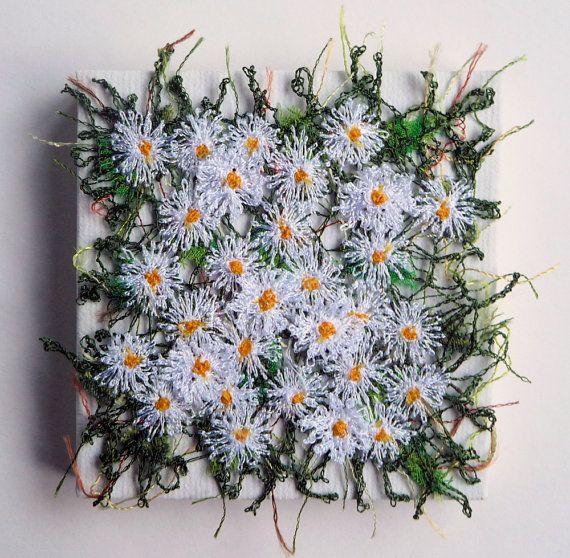 Daisies miniature textile art canvas machine by chocolatefrog