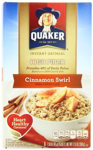 Quaker Instant Oatmeal High Fiber, Cinnamon Swirl, 12.6-Ounce Boxes (Pack of 4) - http://sleepychef.com/quaker-instant-oatmeal-high-fiber-cinnamon-swirl-12-6-ounce-boxes-pack-of-4/