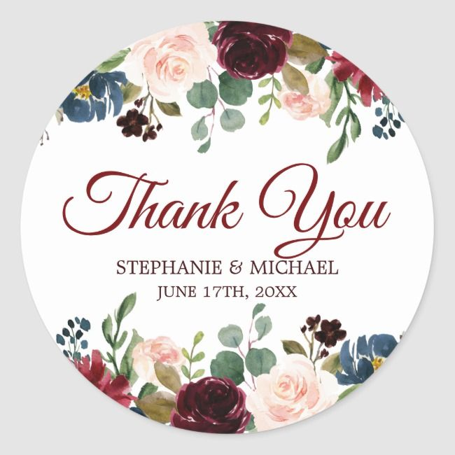 Burgundy Red Navy Floral Rustic Boho Thank You Classic Round Sticker | Zazzle.com