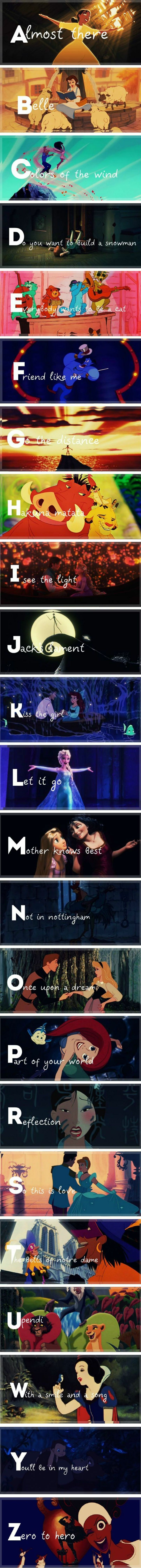 Disney song titles from A to (almost) Z