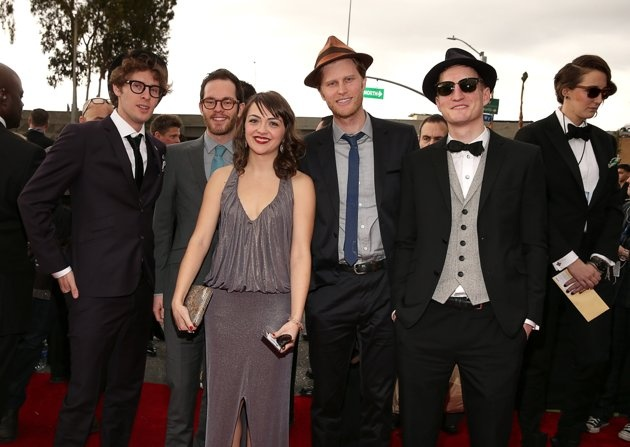 LOS ANGELES, CA - FEBRUARY 10: The Lumineers - Musicians Stelth Ulvang, Neyla Pekarek, Jeremiah Fraites, Wesley Schultz, and Ben Wahamaki of The Lumineers arrive at the 55th Annual GRAMMY Awards on February 10, 2013 in Los Angeles, California. (Photo by Christopher Polk/Getty Images for NARAS)