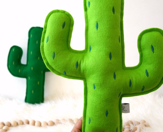 Cactus pillow with embroidered prickly points Greenery