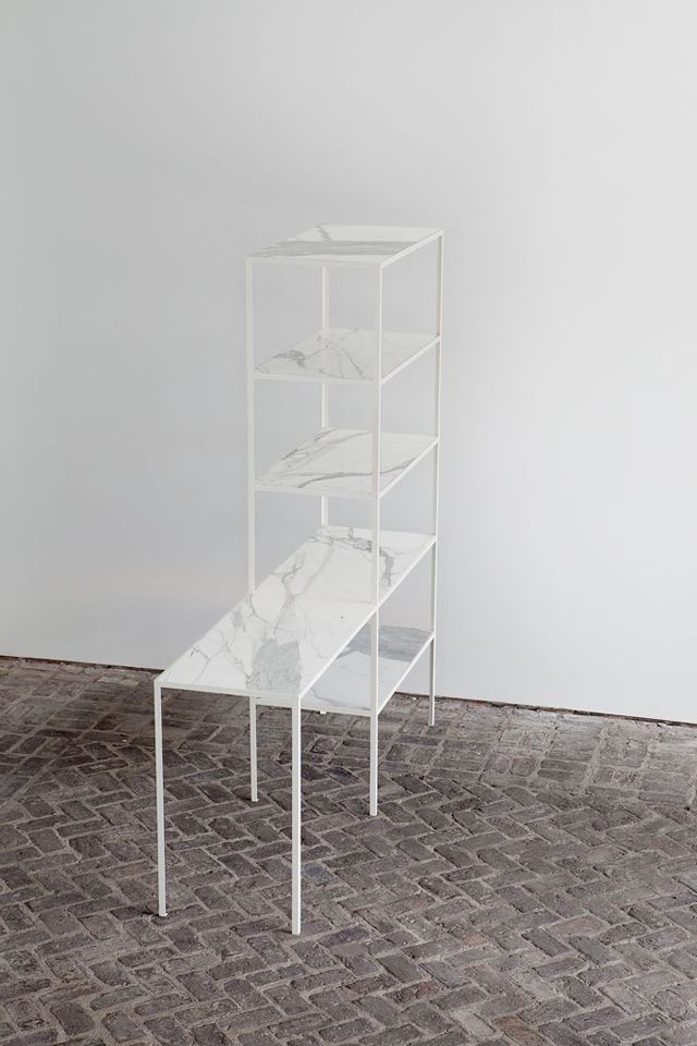 muller van severen - marble shelf - rack + table marble - steel / calacatta marble - h:190 x b:180 x d:45 cm