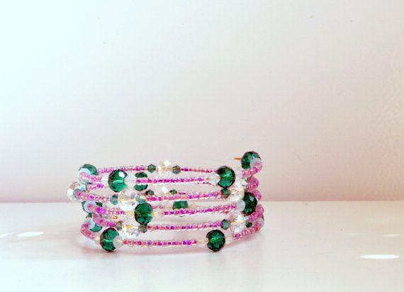 Emerald Green Swarovski Crystal and Purple by FourSeasonsCreations