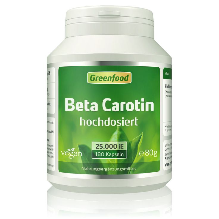 Greenfood Beta Carotin, 25000 iE, hochdosiert, 180 Kapseln - vegan | Beauty & Gesundheit, Vitamine & Nahrungsergänzung, Vitamine & Mineralien | eBay!