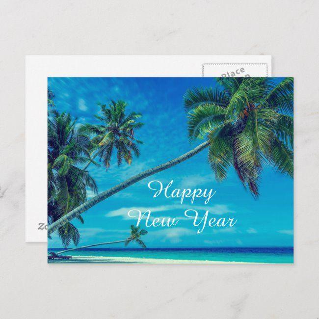 Happy New Year 2017 Hawaiian Palm Trees Beach Holiday Postcard Zazzle Com In 2020 Palm Trees Beach Beach Holiday Holiday Postcards
