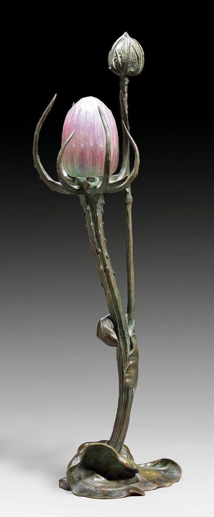 "walzerjahrhundert:  Maurice Bouval, ""Chardon"" Table Lamp, ca. 1900"