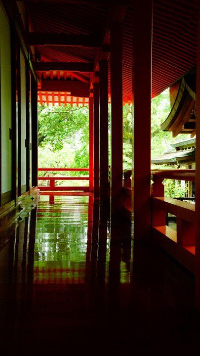 Red corridor of Daikaku-ji temple, Kyoto, Japan