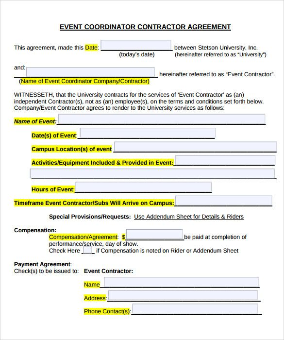 Event Planner Contract Template In 2019 Planner