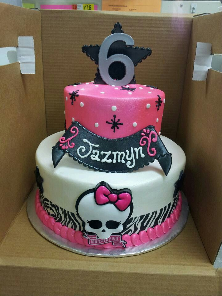 Monster High cake. Tired cake. Zebra print and hot pink cake. Buttercream only cake with plastic decorations.