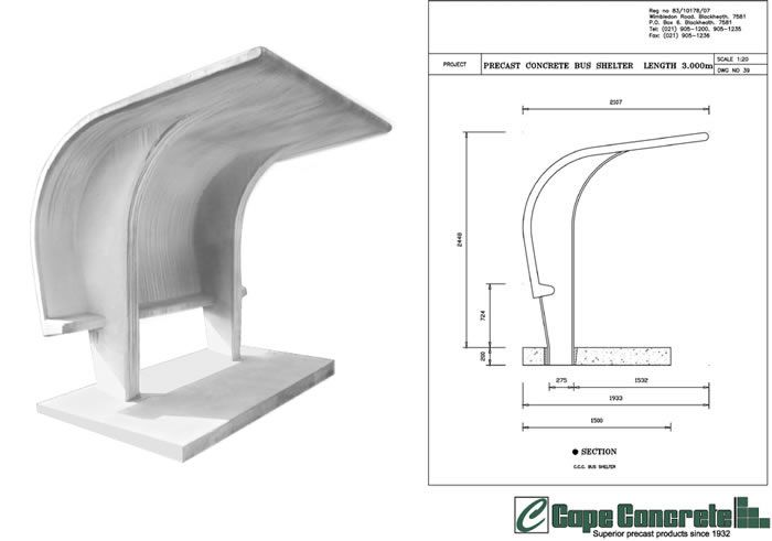 Arched Concrete Bus Shelter - what if it was made of Litracon?