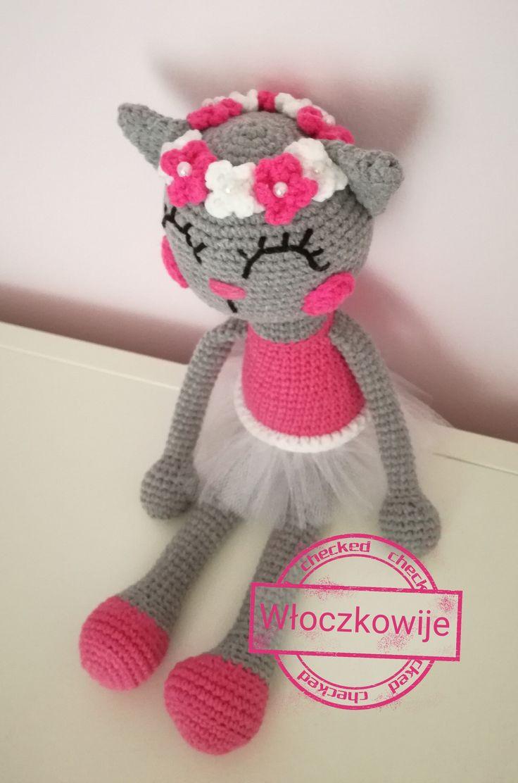 Amigurumi, crochet ballerina cat doll. 35cm, yarnart jeans
