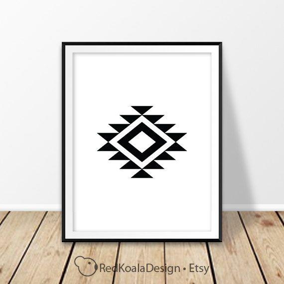 Navajo print, Aztec wall art, Southwestern decor, Abstract art, Geometric Decor, Tribal, Black and white, Modern Minimalist, Digital print by RedKoalaDesign on Etsy