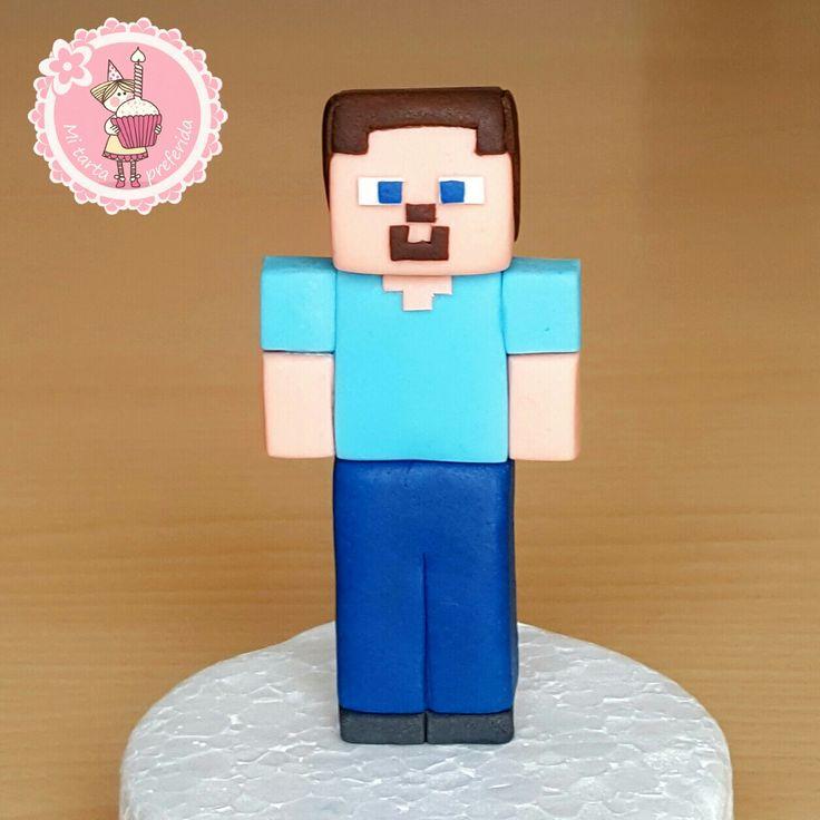 Mi tarta preferida : Como hacer a Steve de Minecraft con fondant