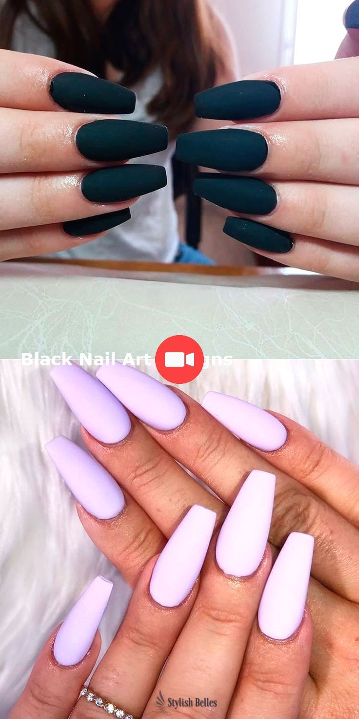 20 Simple Black Nail Art Design Ideas Nails Blacknails Purple Nails Coffin Nails Matte Coffin Nails Long
