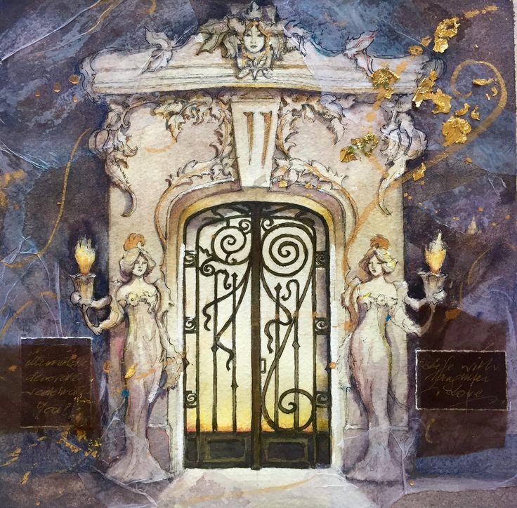 Art Nouveau Door watercolour by Jenny Diamond designs