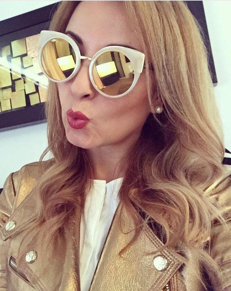 Gold leather jacket/ quay sunglasses/ metallics / spring 2017