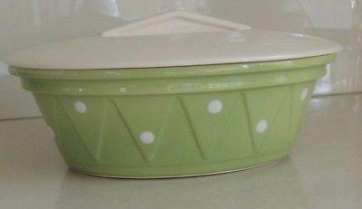 Large DIANA Australian Pottery Polka Dot ~ LIDDED CASSEROLE