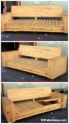 Build a Wooden Pallet Sofa on Wheels | 101 Pallet Ideas