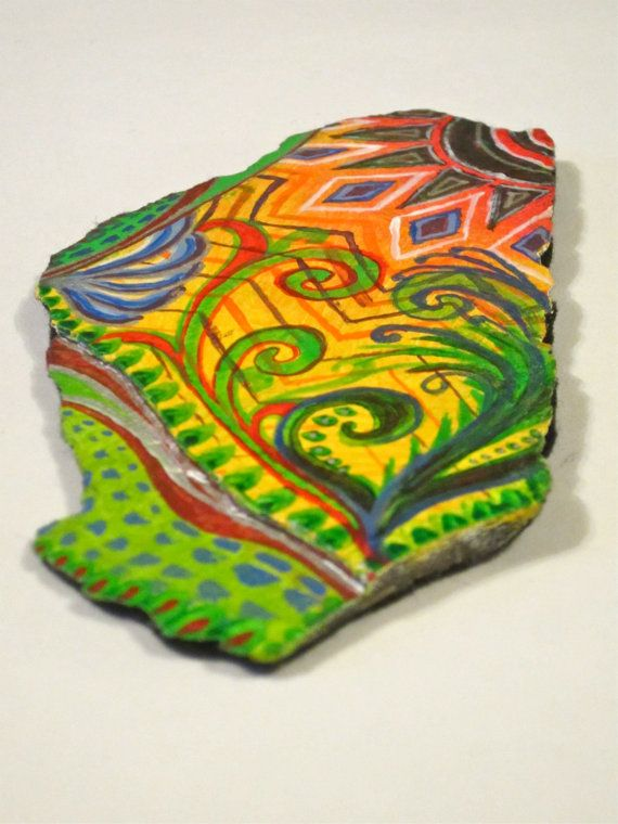 Colourful quirky gift: painted slate stone by ElliesThingsShop