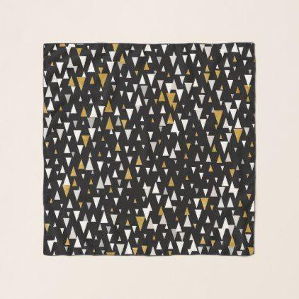 Triangle Modern Art - Black Gold Scarf - accessories accessory gift idea stylish unique custom