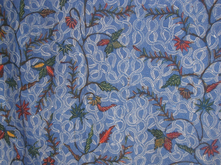 Madura style Indonesian #batik.  Intricate blue and white background.  This piece works well as a wall tapestry.