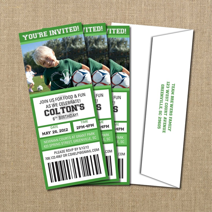 Printable Birthday Party Invitation Card Detroit Lions: 17 Best Ideas About Soccer Tickets On Pinterest