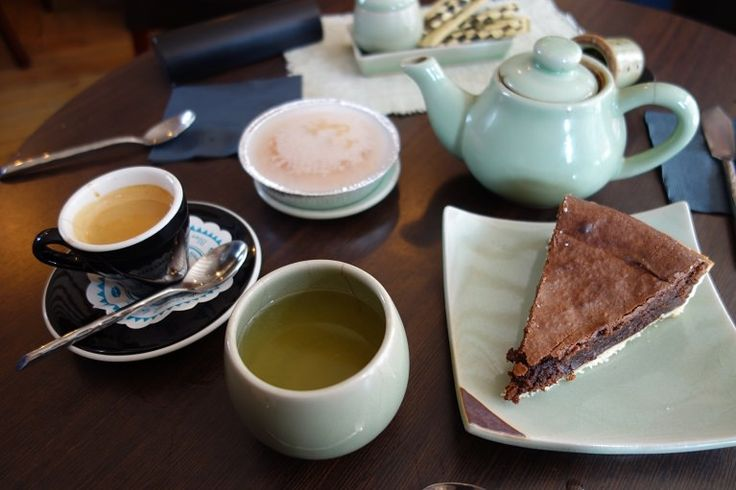 Chocolate tart and gâteau nantais with japanese sencha and blue moutain coffee at Salon Céladon, Guérande, France #restaurant #france #guerande #brittany #tea #coffee #chocolate #cake #nantes