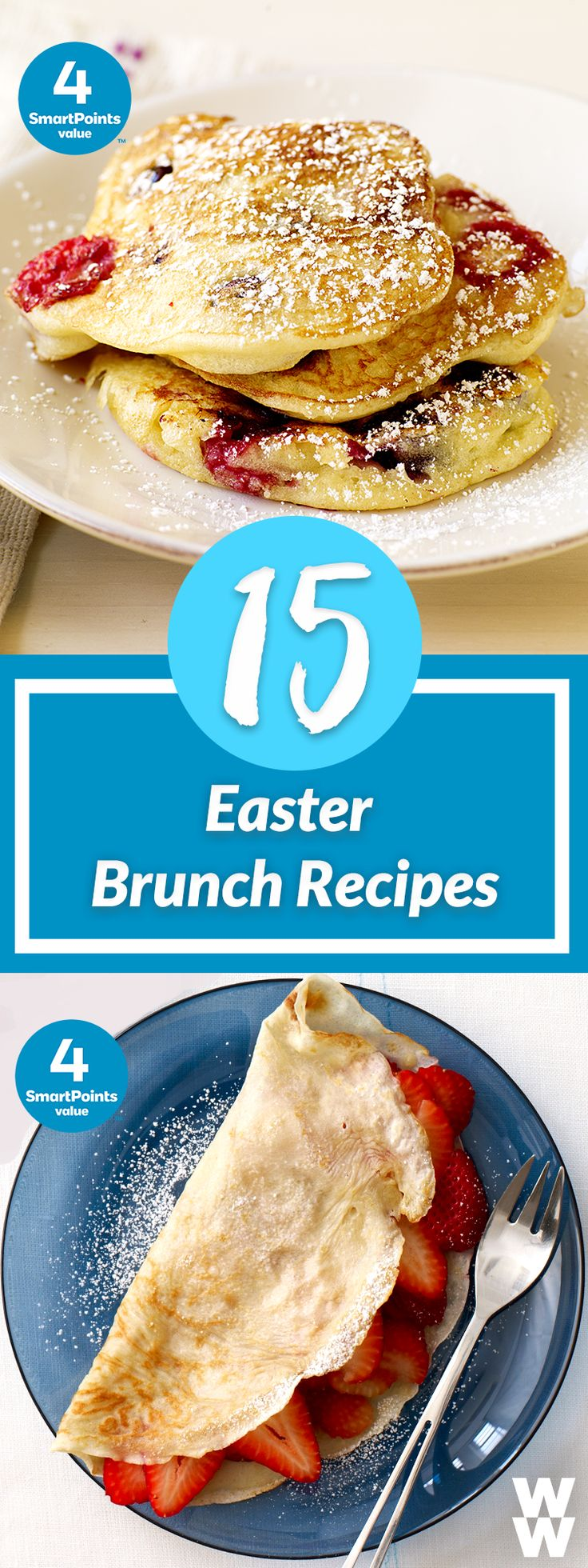 Fluffy pancakes, savory Baked Eggs, French Toast & more! |  Get 15 delicious recipes to cook up for your Easter Sunday brunch!