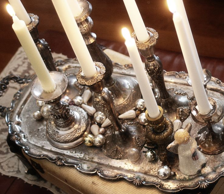 silver candlesticks, white candles