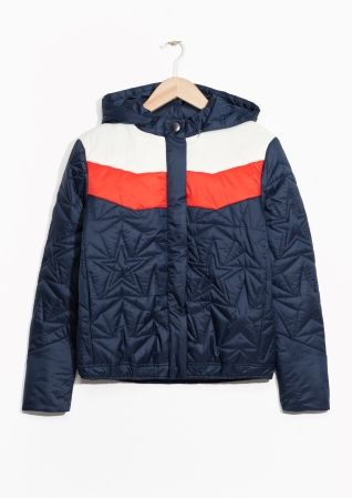 & Other Stories image 2 of Quilted Hood Jacket  in Blue