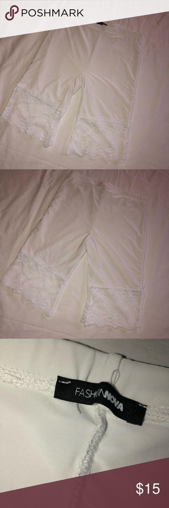 Fashion Nova White Biker Shorts w lace Size S  Super stretchy  Perfect for summe...