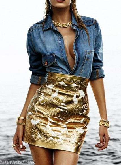 Balmain -- such a gorgeous combo. Who knew denim could look so hot with gold leather?