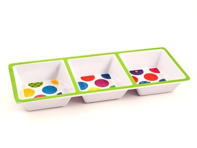 Encourage snack time with this 3-part serving dish
