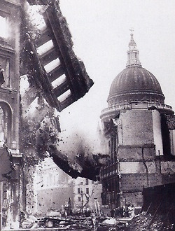 "The Battle of Britain ""We shall fight on the beaches, we shall fight on the landing grounds, we shall fight in the fields and in the streets; we shall never surrender."" -Winston Churchill, St Paul's Cathedral in background, London Blitz"