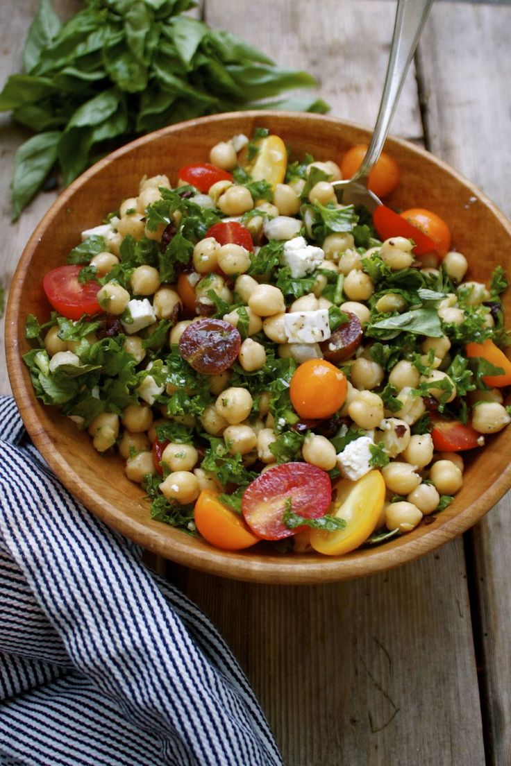 New fave - great way to eat kale! Recipe: Summer Chickpea Kale Salad with Feta, Olives Basil