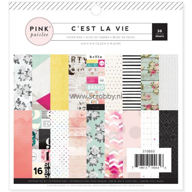 Pink Paislee C'est La Vie Paper Pad 6x6