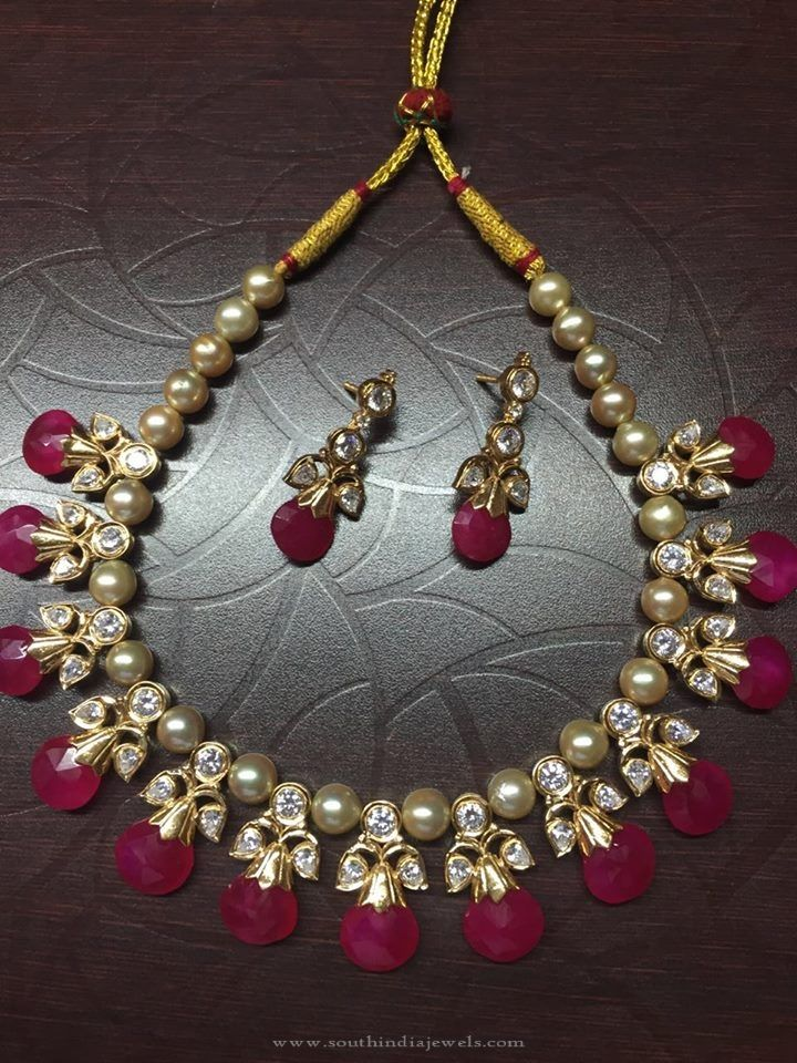 Pearl Ruby Necklace Designs, Pearl Necklace with Rubies, Indian Pearl Necklace Designs.