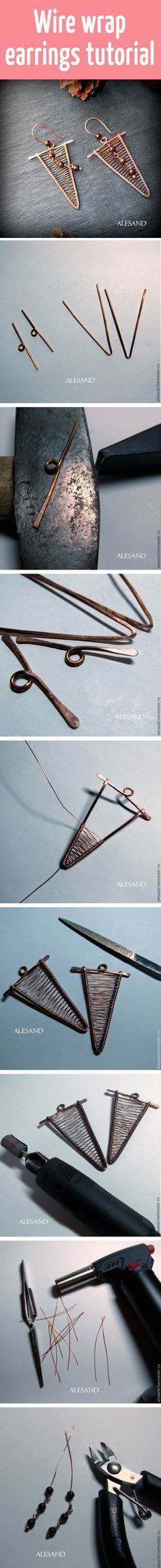 Wire wrap earrings ~ Wire Jewelry Tutorials