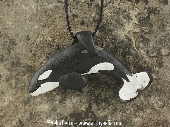 Keiko Orca Free Willy Pendant Killer Whale Necklace by ArtByAelia