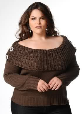 Off the shoulder knit sweater brown plus size style inspiration #UNIQUE_WOMENS_FASHION