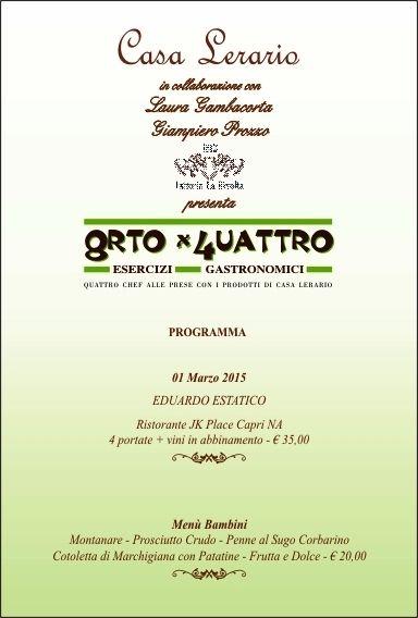 """Il 1° marzo a Casa Lerario di Melizzano (Bn) per """"8rto X 4uattro"""" arriva lo chef Eduardo Estatico"""