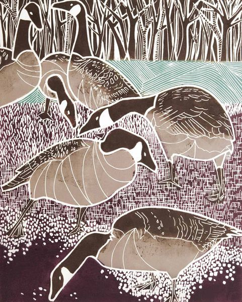Geese Feeding linocut by Tessa Charles. I love all the pattern