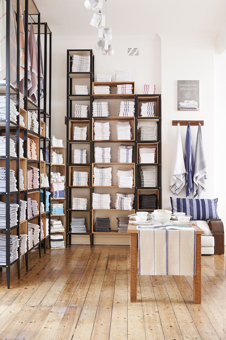 Shop Fittings | flat weave towel display at the Mungo store in Cape Town, South Africa