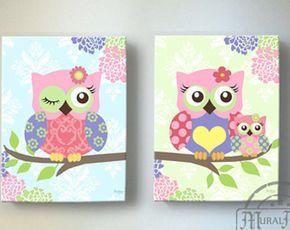 Decoración de Owl - buho lienzo, bebé niña infantil buho vivero impresiones artísticas, arte de la pared de la guardería de la lona