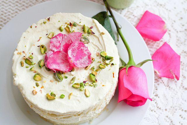 Persian love cake - saffron, cardamom, rose and pistachio