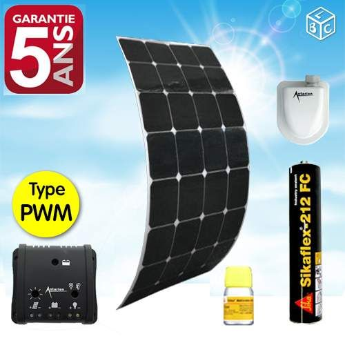kit complet panneau solaire souple 120w campingcar. Black Bedroom Furniture Sets. Home Design Ideas