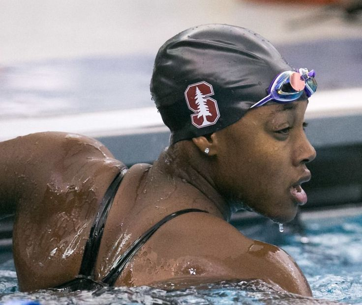 Simone Manuel Stanford Swim Team 2015 One of the first 3 African Americans in the top 3 spots of the 100 Free Style in ANY Division 1 NCAA Swimming Championship She placed first Lia Neal was second and Natalie Hinds third.